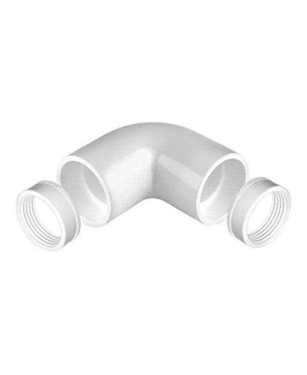 90 graden bocht voor Pvc buis wit 20 mm