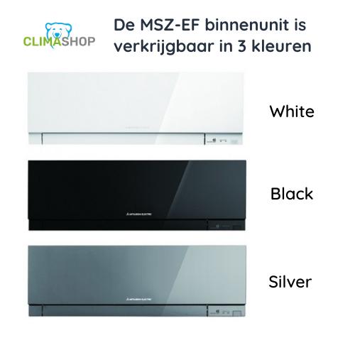 MSZ-EF serie (Premium Design wandunits) in 3 kleuren (Black, White, Silver) bij Climashop