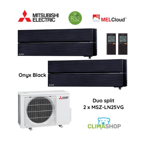 Duo split MSZ-LN serie [Onyx Black] 2 x 2,5 kW