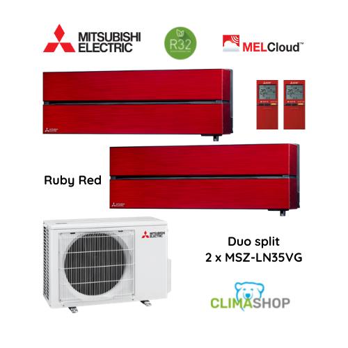 Duo split MSZ-LN serie [Ruby Red] 2 x 3,5 kW
