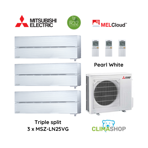 LN serie [Pearl White] 3 x 2,5 kW