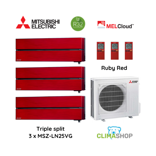 LN serie [Ruby Red] 3 x 2,5 kW