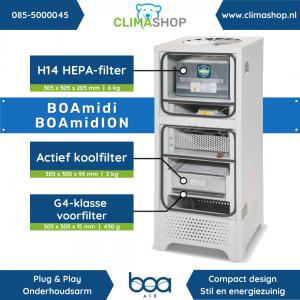 BOAmidi - BOAmidION - filter afmetingen en gewicht