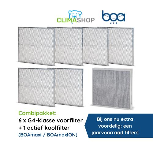 Combipakket 6x G4-klasse voorfilter + 1 actief koolfilter (BOAmaxi en BOAmaxION)