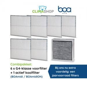 Combipakket 6x G4-klasse voorfilter + 1 actief koolfilter (BOAmidi en BOAmidION)