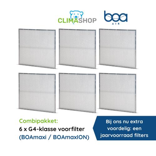 Combipakket 6x G4-klasse voorfilter (BOAmaxi en BOAmaxION)