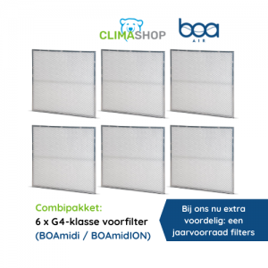 Combipakket 6x G4-klasse voorfilter (BOAmidi en BOAmidION)