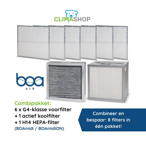 Combipakket 6x G4-klasse voorfilter + actief koolfilter + H14 HEPA (BOAmidi en BOAmidION)